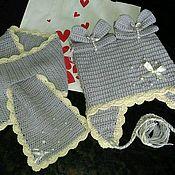 """Работы для детей, ручной работы. Ярмарка Мастеров - ручная работа Комплект """"Бантики"""" : шапка и шарф детские крючком. Handmade."""