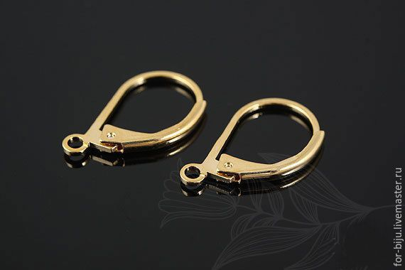 High quality earrings with English lock, size 16*10mm (including loops), brass material with gold production in South Korea. The hypoallergenic coating (Ref. 1604)