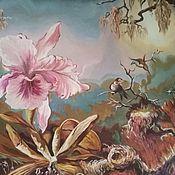 """Картины ручной работы. Ярмарка Мастеров - ручная работа Картина """"Орхидеи и колибри"""" Штинова Наталья. Handmade."""