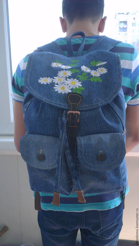 Вышивка на джинсовом рюкзаке 54