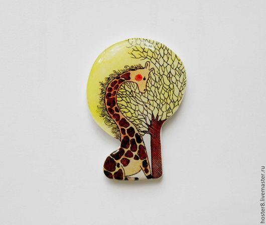 """Броши ручной работы. Ярмарка Мастеров - ручная работа. Купить Брошь """"Жирафка"""" (0112). Handmade. Желтый, жирафик, жирафа, брошь"""