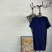 """Одежда ручной работы. Ярмарка Мастеров - ручная работа Платье из бархата """"кокон"""" синее. Handmade."""