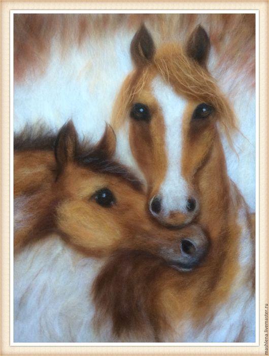 Животные ручной работы. Ярмарка Мастеров - ручная работа. Купить Картина из шерсти - Лошадки. Handmade. Коричневый, необычный подарок