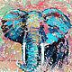 """Животные ручной работы. Ярмарка Мастеров - ручная работа. Купить """"Абстрактный Бирюзовый Слон"""" картина маслом. Handmade. Бирюзовый"""