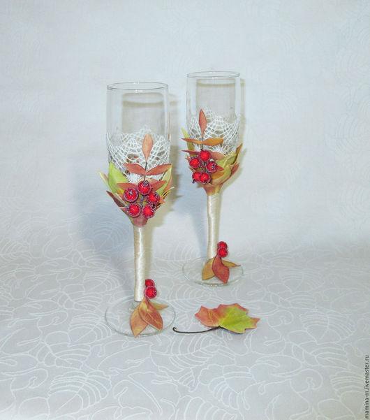 Свадебные бокалы «Осенний вальс». Свадебные аксессуары ручной работы.  МамиНа мастерская. Ярмарка мастеров.