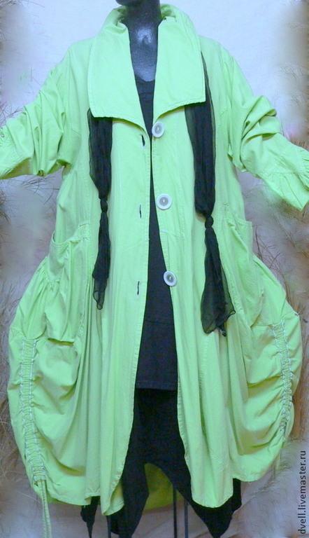 Верхняя одежда ручной работы. Ярмарка Мастеров - ручная работа. Купить Баллон. летнее пальто размер уни. Handmade. Зеленый