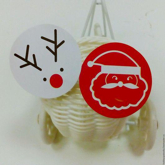 """Упаковка ручной работы. Ярмарка Мастеров - ручная работа. Купить Наклейки """"Merry Christmas"""" круглые   -упаковка новогодних подарков. Handmade."""