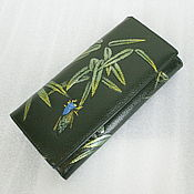 Винтаж ручной работы. Ярмарка Мастеров - ручная работа Кошелек кожаный Цикада, 80-е. Handmade.