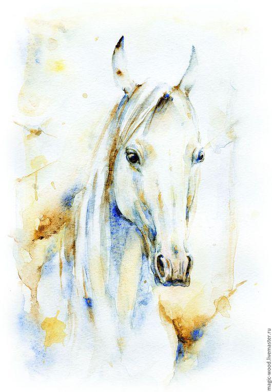"""Животные ручной работы. Ярмарка Мастеров - ручная работа. Купить Авторская акварель """" Белая лошадка 1"""". Handmade. Лошадь"""