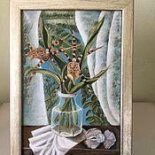 Картины ручной работы. Ярмарка Мастеров - ручная работа Картина  голубая бежевая белая перламутровая жемчужина. Handmade.