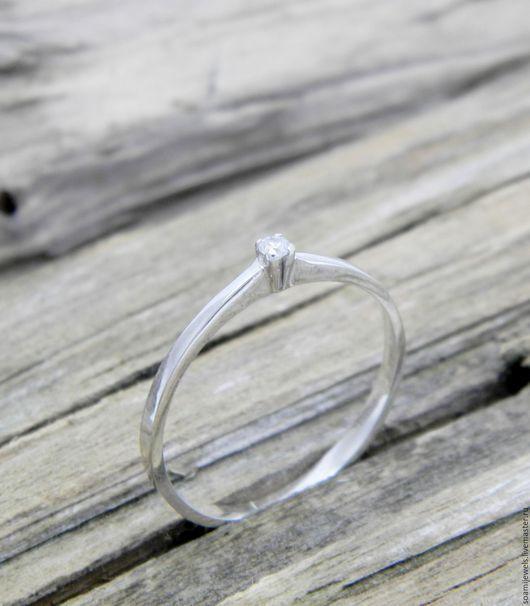 Кольца ручной работы. Ярмарка Мастеров - ручная работа. Купить Помолвочное кольцо c бриллиантом, серебро 925 пробы. Handmade.