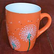 Посуда ручной работы. Ярмарка Мастеров - ручная работа Кружка с одуванчиками, чашка с одуванчиками, оранжевая чашка. Handmade.