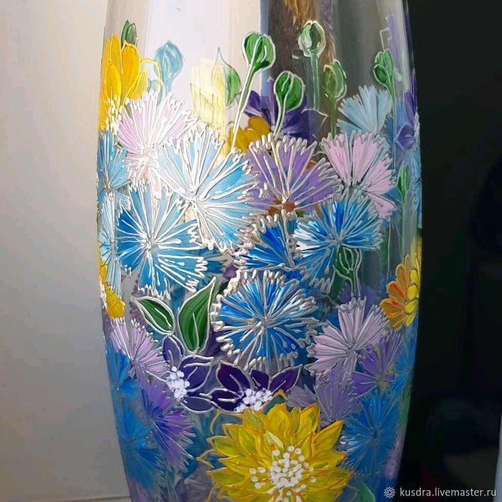 "Ваза ""Корзина с васильками"" для Людмилы, Вазы, Санкт-Петербург,  Фото №1"