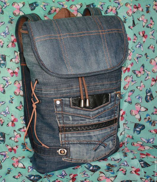 """Рюкзаки ручной работы. Ярмарка Мастеров - ручная работа. Купить Джинсовый рюкзак """"City style"""". Handmade. Тёмно-синий"""