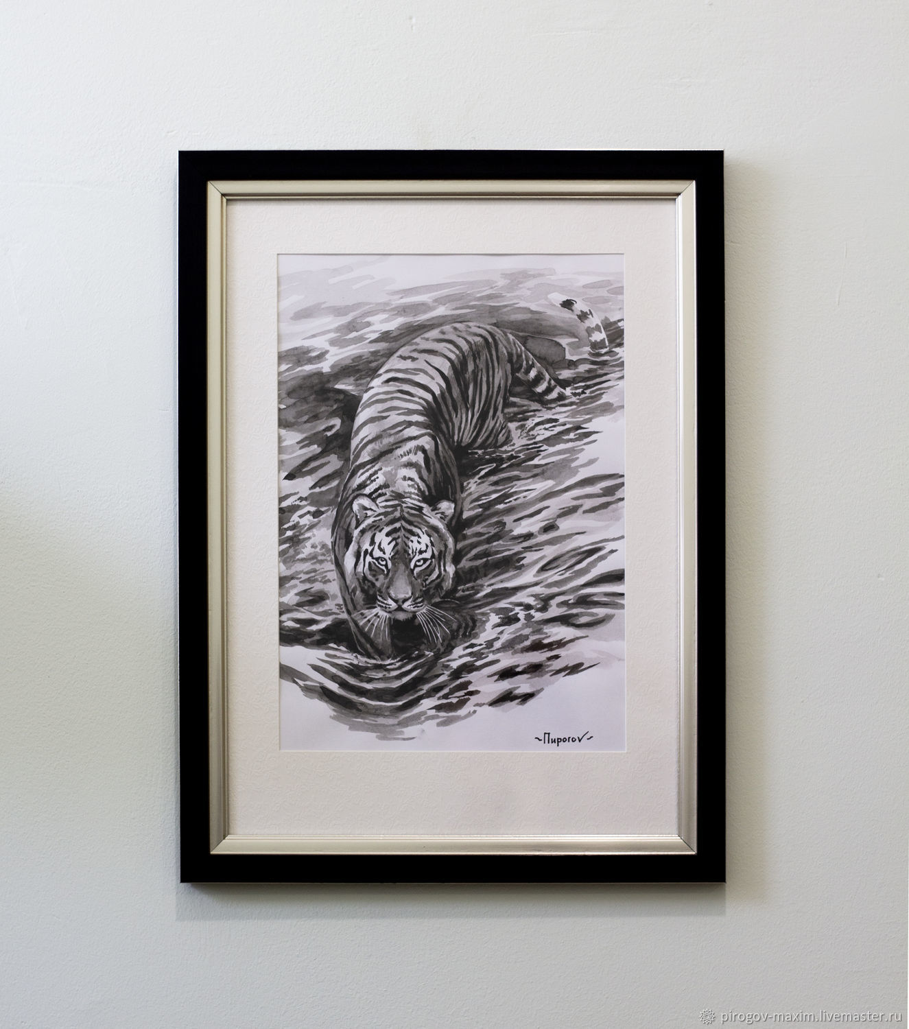 Framed picture of a tiger. ink painting. Tiger ink. ink drawing, Pictures, Samara,  Фото №1