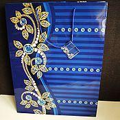 """Материалы для творчества ручной работы. Ярмарка Мастеров - ручная работа Пакет """"Синие зимние цветы"""" 43х33х10 см. Handmade."""