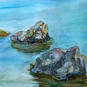 Картины и панно ручной работы. Ярмарка Мастеров - ручная работа Акварель. Пейзаж. Камни. Handmade.
