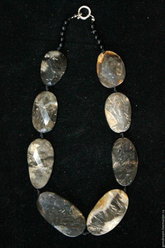 Колье, бусы ручной работы. Ярмарка Мастеров - ручная работа. Купить Ожерелье из натурального камня (агат волосатик). Handmade.