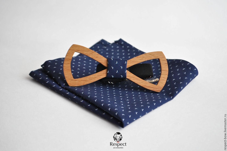 Wooden butterfly tie Boyar pocket square Pasha dark blue, Ties, Moscow,  Фото №1