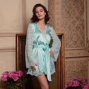 Одежда handmade. Livemaster - original item Blue Short Silk Bridal Robe with Lace Sleeves F6,Bridal Lingerie. Handmade.