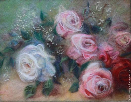 Картины цветов ручной работы. Ярмарка Мастеров - ручная работа. Купить Картина из шерсти. Розы.. Handmade. Картина из шерсти