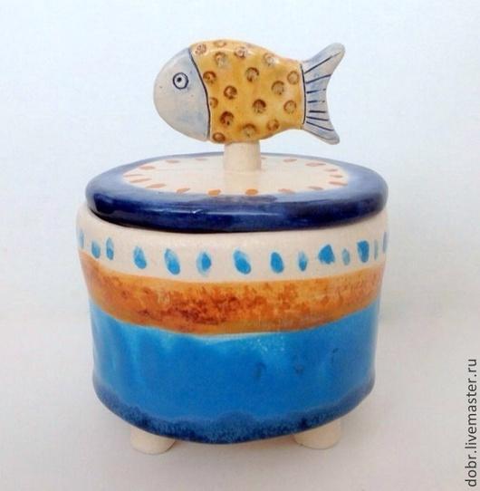 Шкатулки ручной работы. Ярмарка Мастеров - ручная работа. Купить Шкатулка Рыбка в горошек. Handmade. Бежевый, синий, полоски, рыбка