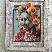 Картины ручной работы. Ярмарка Мастеров - ручная работа Портрет девушка в традиционных тибетских бусинах. Handmade.