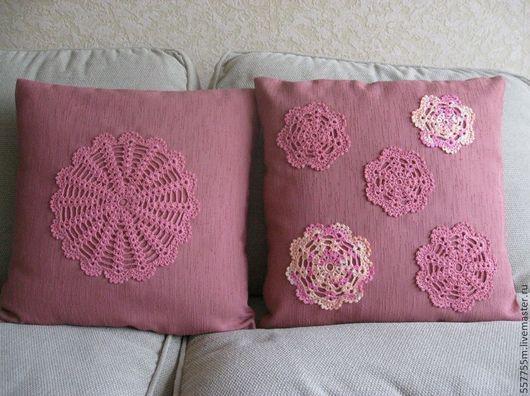 """Текстиль, ковры ручной работы. Ярмарка Мастеров - ручная работа. Купить Две подушки """"С кружевом"""", комплект. Handmade. Розовый"""