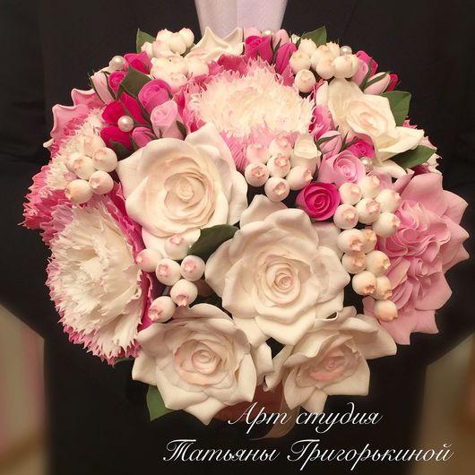 Букеты ручной работы. Ярмарка Мастеров - ручная работа. Купить Букет невесты из пионов с розами из полимерной глины. Handmade.