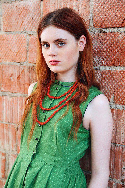 Платья ручной работы. Ярмарка Мастеров - ручная работа. Купить Платье со стоечкой - Зеленое горох. Handmade. Зеленый, ситец