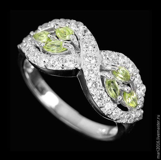 """Кольца ручной работы. Ярмарка Мастеров - ручная работа. Купить Элегантное кольцо """"Яблоневый сад"""", перидот ААА; кубик циркония. Handmade."""