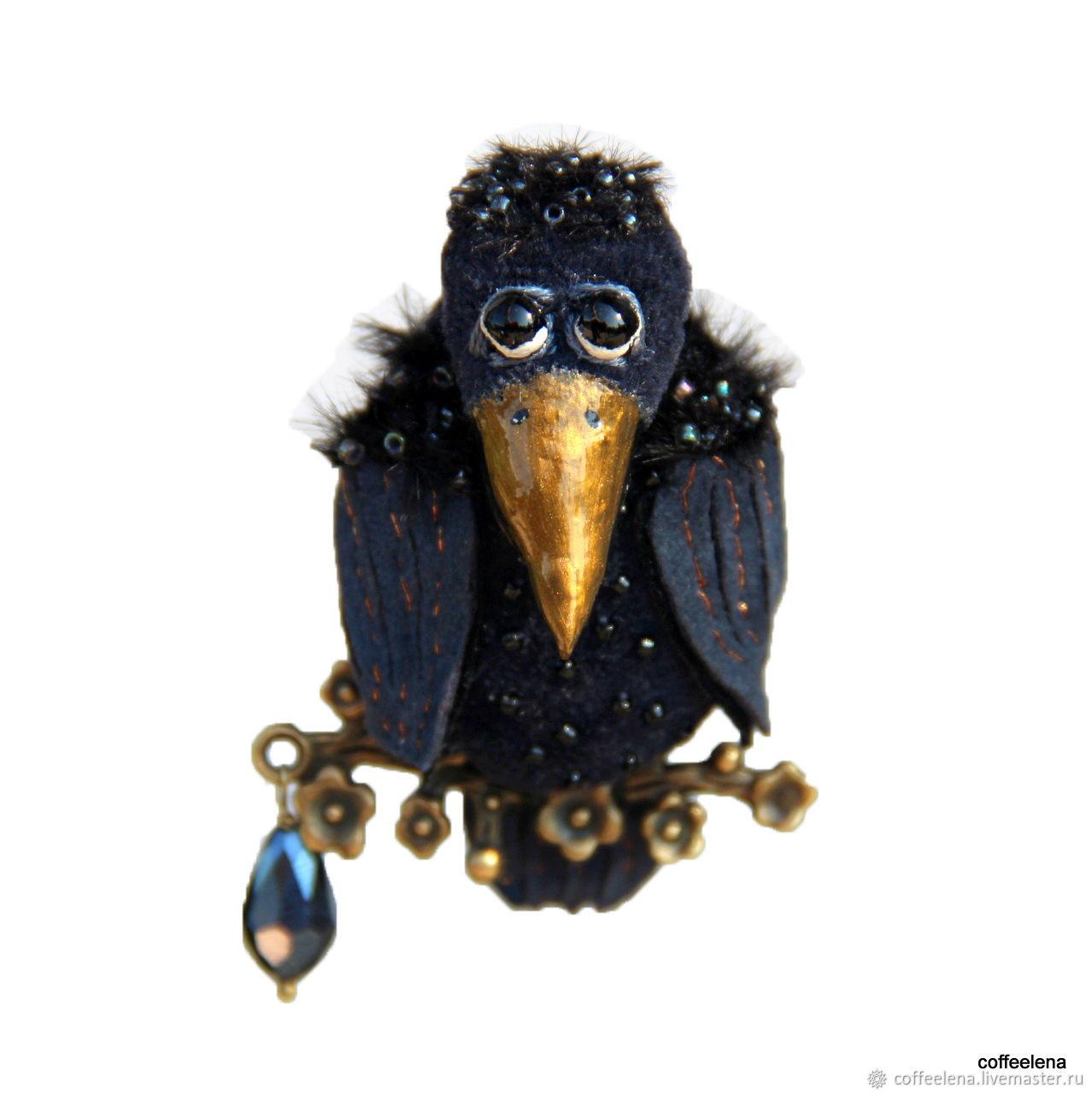 Brooch-bird 'maybe A crow?!'. Textile brooch-bird, Brooches, Krasnodar,  Фото №1