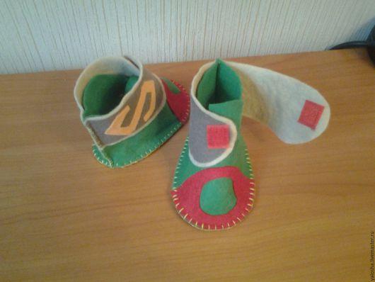 Обувь ручной работы. Ярмарка Мастеров - ручная работа. Купить Тапочки детские домашние. Handmade. Комбинированный, детские тапочки