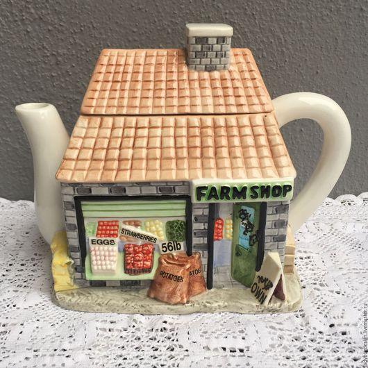 Винтажная посуда. Ярмарка Мастеров - ручная работа. Купить Чайник в форме домика, Англия. Handmade. Комбинированный, домик, старина