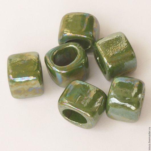 Для украшений ручной работы. Ярмарка Мастеров - ручная работа. Купить Керамические бусины для кожаных браслетов Regaliz темно-зеленые. Handmade.