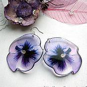 Украшения handmade. Livemaster - original item Transparent Earrings Resin Earrings Flowers pansies Purple Boho. Handmade.