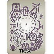 Часы стимпанк  ТК756. Трафарет клеевой.