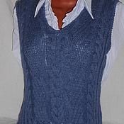 Одежда ручной работы. Ярмарка Мастеров - ручная работа Жилет в стиле Деним Темно-Голубой. Handmade.