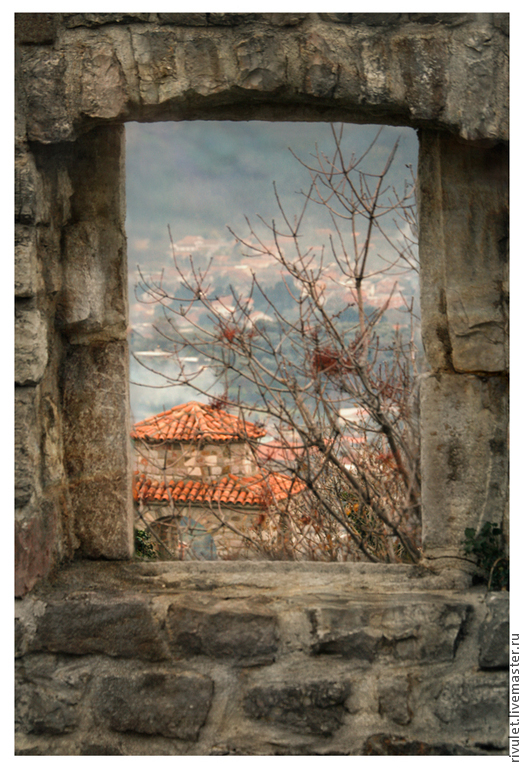 Author's photo, Autumn landscape on the wall, the view from the window of the fortress and ancient town of Stari Bar Montenegro.