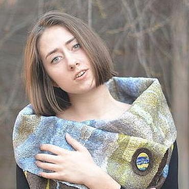 Одежда ручной работы. Ярмарка Мастеров - ручная работа Жилет-трансформер из войлока и шелка серо-коричневый голубой желтый. Handmade.