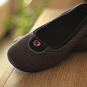 """Обувь ручной работы. Ярмарка Мастеров - ручная работа """"Нескучный серый"""" валяные тапочки-балетки. Handmade."""