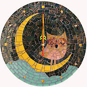 "Часы ручной работы. Ярмарка Мастеров - ручная работа Часы настенные ""Совушка на луне"". Handmade."