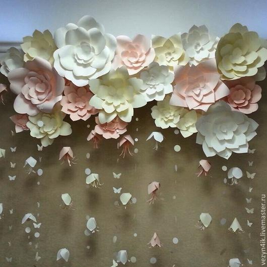 Свадебные цветы ручной работы. Ярмарка Мастеров - ручная работа. Купить Цветы для задника из бумаги. Handmade. Цветы из бумаги, оформление