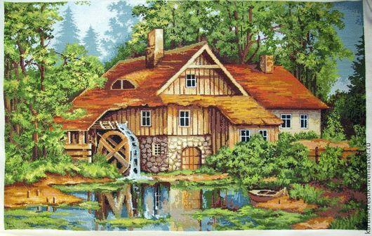 Пейзаж ручной работы. Ярмарка Мастеров - ручная работа. Купить Летний пейзаж. Handmade. Картина, картина для интерьера, Вышивка крестом