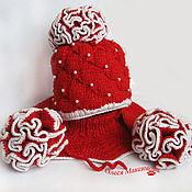 Работы для детей, ручной работы. Ярмарка Мастеров - ручная работа Вязаный зимний комплет шапка, шарфик, манишка. Handmade.