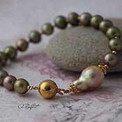 Украшения handmade. Livemaster - original item gold plated bracelet with pearls Kasumi
