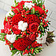 Красный букет невесты с пионовидными розами