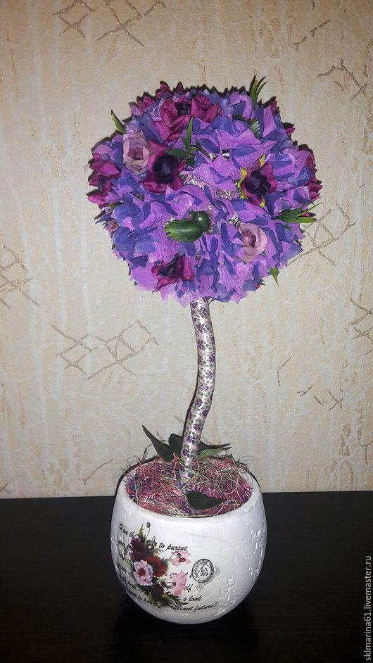 """Топиарии ручной работы. Ярмарка Мастеров - ручная работа. Купить """" Фиолетовое настроение"""". Handmade. Фиолетовый, дерево, сизаль, розы"""