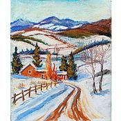 Картины ручной работы. Ярмарка Мастеров - ручная работа Картина - Зима в горах - пастелью, зимний пейзаж. Handmade.