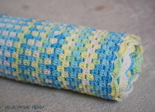 Пледы и одеяла ручной работы. Ярмарка Мастеров - ручная работа. Купить Детский вязаный крючком плед меланж голубой зеленый желтый. Handmade.